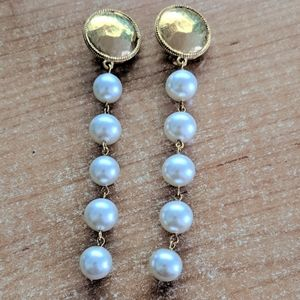 RARE Vintage Chanel Clip On Earrings Faux Pearl
